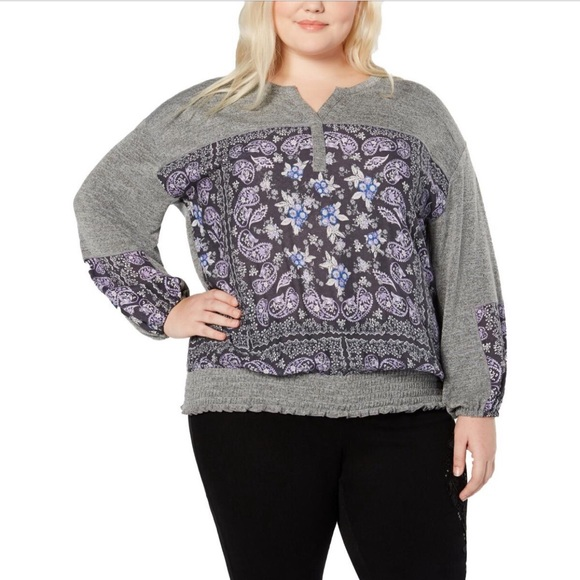 Style & Co. Plus Floral Print Smocked Henley Top